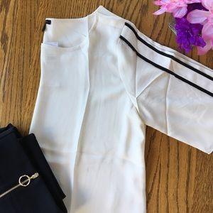 Ann Taylor Stripe Fringe Sleeve Tee Size Medium